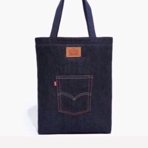 NEW large Levi's denim tote leather logo patch